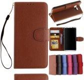 GSMWise - Samsung Galaxy S8 - PU Lederen Portemonnee Case met Kaarthouder Lychee - Bruin