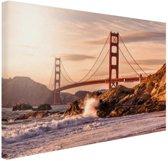 Golden Gate Bridge Canvas 80x60 cm - Foto print op Canvas schilderij (Wanddecoratie woonkamer / slaapkamer) / Steden Canvas Schilderijen