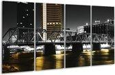 Glasschilderij Brug | Zwart, Wit, Geel | 160x80cm 4Luik | Foto print op Glas |  F001843