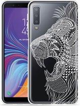 Galaxy A7 2018 Hoesje Leeuw Mandala Wit