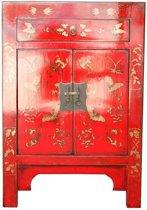 Chinese Meubelen Chinese Kast Chinees Nachtkastje Oosters Rood Handbeschilderde Vlinders - Orientique