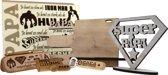 Superhelden Kist voor PAPA - houten kist gevuld met houten USB - vulpen - opener - organizer - standaard Super Papa