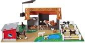 Micki Houten speelgoed Landbouw Houten boerderij met speelfiguren