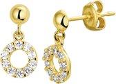 The Jewelry Collection Oorhangers Zirkonia - Geelgoud