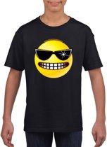 Smiley/ emoticon t-shirt stoer zwart kinderen M (134-140)