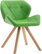 Clp Tyler - Eetkamerstoel - Vierkant - Kunstleer - Groen - Kleur onderstel Natura