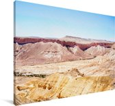 Felle zon op de woestijn in de Makhtesh Ramon Canvas 140x90 cm - Foto print op Canvas schilderij (Wanddecoratie woonkamer / slaapkamer)