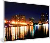 Foto in lijst - Verlichting van de gebouwen in Caïro in de nacht fotolijst wit 60x40 cm - Poster in lijst (Wanddecoratie woonkamer / slaapkamer)