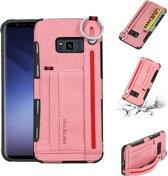 Let op type!! Voor Galaxy S8 + doek textuur + TPU schokbestendige beschermhoes met metalen ring & houder & kaartsleuven & hangende riem (roze)