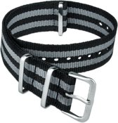 Horlogeband Nato Strap - Zwart Grijs/James Bond Nato - 18mm
