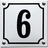Emaille huisnummer wit/zwart nr. 6