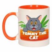 1x Tommy the Cat beker / mok - oranje met wit - 300 ml keramiek - katten bekers