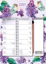 Telefoon(omleg)kalender MGP 2019 - Omlegkalender - 2 weken overzicht - Bloemen Paars - 24 x 34 cm