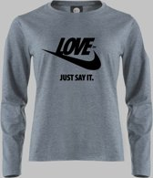 Longsleeve V LOVE YOU - Just say it. - in zwart - Zandgrijs - V - M Sportshirt