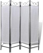 vidaXL Wit kamerscherm 4 panelen opvouwbaar 160 x 180 cm