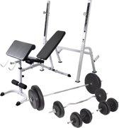 vidaXL Trainingsbank met gewichtenrek en halterset 90 kg