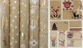 Urban Chic luxe kerstpapier inpakpapier cadeaupapier - 150 x 70 cm - 5 rollen - Inclusief naamlabels