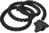 relaxdays Flexibele kabelspiraal zwart, kabel bundel set, cable bundle tube