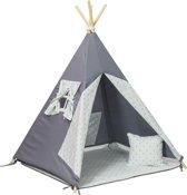 Wigwam tipi teepee tent - speeltent - 4 delig - 100% katoen - turquoise sterren