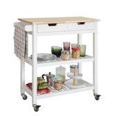 Keukentrolley met 2 lades en legplanken | Wielen | Wit