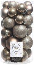 30x Kasjmier bruine kunststof kerstballen 4 - 5 - 6 cm - Mat/glans/glitter - Onbreekbare plastic kerstballen - Kerstboomversiering bruin