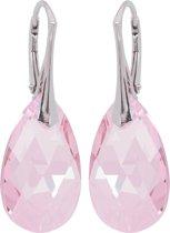 Oorbellen met Swarovski Kristallen Druppel Light Rose - 925 zilver - 22MM