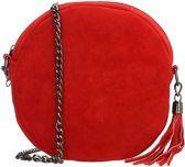 Charm Elisa suede rond schoudertasje - Rood