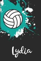 Lydia Volleyball Notebook: Cute Personalized Sports Journal With Name For Girls