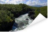 Woeste bergstroom in het Nationaal park Abisko in Zweden Poster 120x80 cm - Foto print op Poster (wanddecoratie woonkamer / slaapkamer)