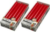 Bolsius Dinerkaarsen - 230/20 kleur rood - 20 kaarsen in 2 verpakkingen