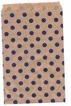 Papieren zakjes 10x16 cm bruin met paarse stippen 50 stuks  / cadeauzakjes