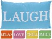 Kussen rechthoek blauw laugh