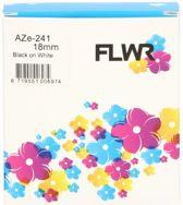 FLWR - Printetiket / TZe-241 / Zwart op Wit - geschikt voor Brother