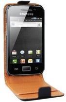 Swiss Charger Flip Case / Cover van zwart PU leer voor de Samsung Galaxy Ace