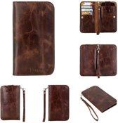 Barchello Universele Multi Flap Case- leder van extreem hoge kwaliteit  - Donker bruin