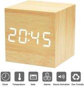Design Wekker met Houtlook - Cube - Meerdere Alarmen - Met Datum & Temperatuurweergave - LCD Dimbaar met Sound Control - Draadloos of met Snoer