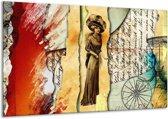 Glasschilderij Vrouw | Bruin, Rood | 120x70cm 1Luik | Foto print op Glas |  F005729