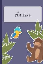Ameen: Personalized Notebooks - Sketchbook for Kids with Name Tag - Drawing for Beginners with 110 Dot Grid Pages - 6x9 / A5