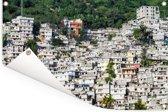 Een berg volgebouwd met huizen in de hoofdstad Port-au-Prince Tuinposter 180x120 cm - Tuindoek / Buitencanvas / Schilderijen voor buiten (tuin decoratie) XXL / Groot formaat!