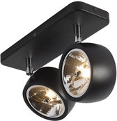 QAZQA go nine sl - Plafond spot - 2 lichts - L 300 mm - Zwart