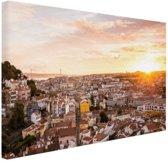 Uitzicht over Lissabon Canvas 30x20 cm - klein - Foto print op Canvas schilderij (Wanddecoratie woonkamer / slaapkamer) / Steden Canvas Schilderijen