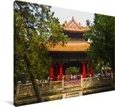 Prachtig paviljoen bij de Confuciustempel van Qūfù Canvas 90x60 cm - Foto print op Canvas schilderij (Wanddecoratie woonkamer / slaapkamer)