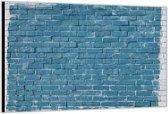 Dibond –Blauwe Bakstenenmuur– 120x80 Foto op Aluminium (Wanddecoratie van metaal)
