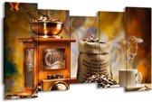 Schilderij   Canvas Schilderij Koffie, Keuken   Bruin, Geel, Oranje   150x80cm 5Luik   Foto print op Canvas