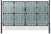 Tuinpoort dubbele deur zwart 300 x 225 cm (incl. Werkhandschoenen)