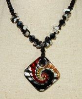 Onyx Collier met Murano Glas Hanger