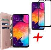 Samsung Galaxy A30s Hoesje + Screenprotector Full Screen - Book Case Portemonnee - iCall - Roségoud