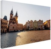 Oude Stadsplein Praag Canvas 60x40 cm - Foto print op Canvas schilderij (Wanddecoratie)