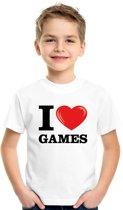 Wit I love games t-shirt kinderen L (146-152)