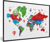 Foto in lijst - Kleurrijke wereldkaart op een witte achtergrond fotolijst zwart 60x40 cm - Poster in lijst (Wanddecoratie woonkamer / slaapkamer)